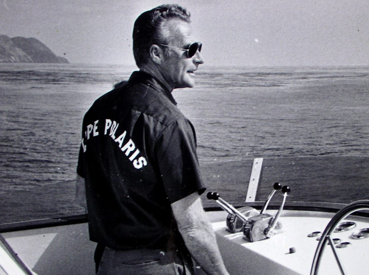 Captain Bill Poole, San Diego's long-range legend and Cape Polaris owner, at the helm as he explored new fishing grounds in Baja California, Mexico.